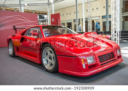 "RIMINI,ITALY - MAY 10, 2014: Ferrari F 40 exposed at ""My Special Car"" motorshow on May 10,2014.My Special Car is a tuning motorshow that takes place every year in Rimini,Italy."