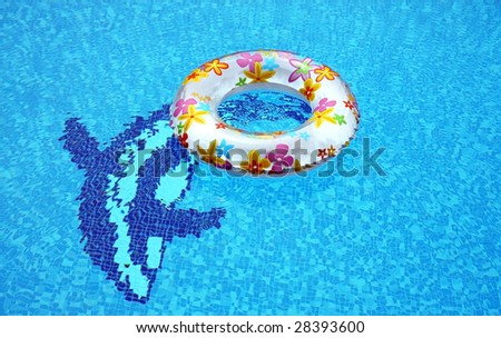 ring and dolphins in swimming-pool