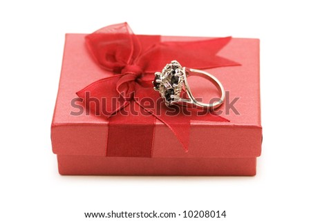 Ring and giftbox isolated on the white - stock photo