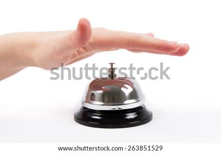 ring bell with the hand on white