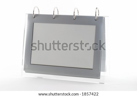 Ring binder empty photo frame, clear frame, gray, on white, seen from an angle, good for display - stock photo