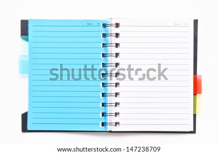 ring binder notebook with blue bookmark on white background