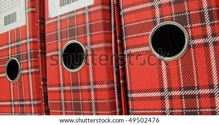 Ring binders file folders red document boxes - stock photo