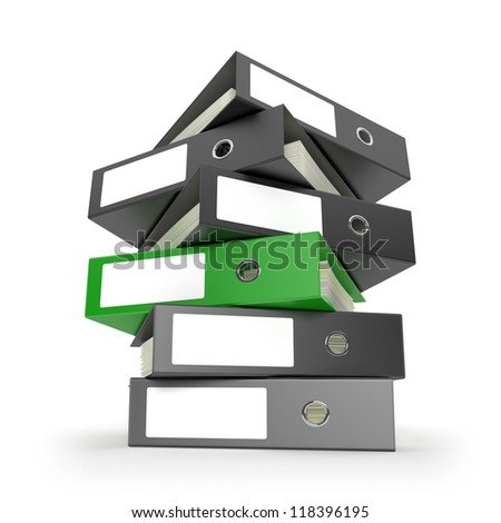 Ring binders on white desktop. Computer generated image with clipping path. - stock photo