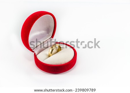 Ring box with a ring inside. - stock photo