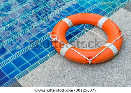 Ring buoy swimming pool. - stock photo