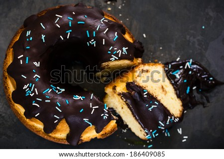 Ring cake with chocolate on the top  viewed from above - stock photo