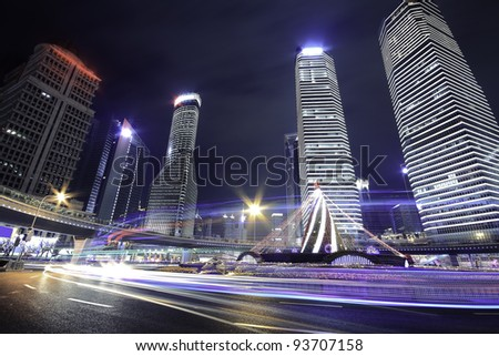 Ring Highway at  night with rainbow light trails in shanghai - stock photo