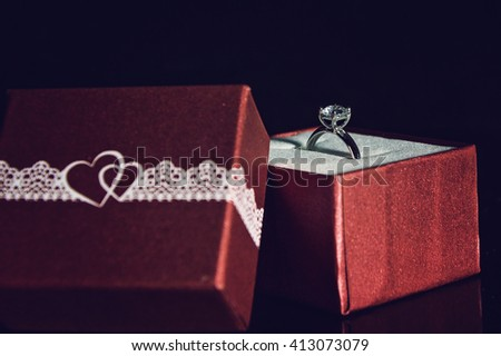 Ring in a gift box - stock photo