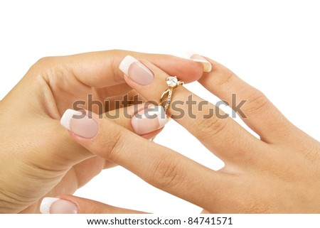 ring in hand - stock photo