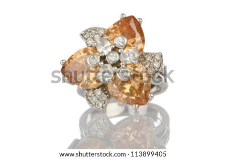 Ring isolated on white background - stock photo