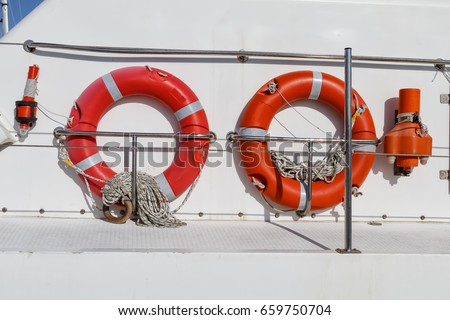 ring life buoys on white boat obligatory stock photo edit now