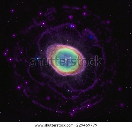 Ring nebula in stars space background. Some image elements furnished by NASA. - stock photo