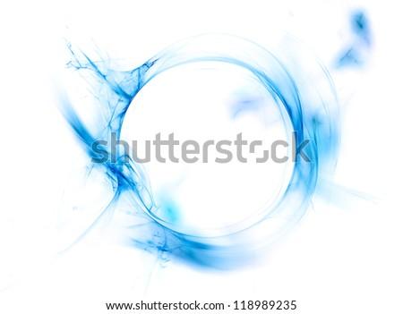 Ring of blue smoke isolated on white background - stock photo