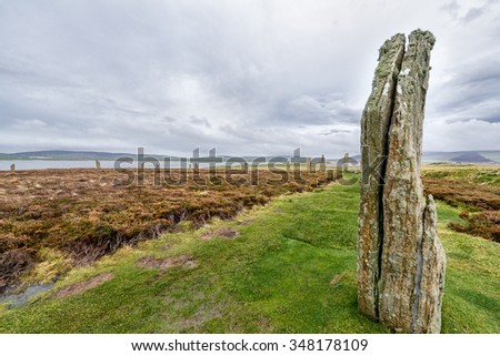 Ring of Brodgar, Heart of Neolithic Orkney, awarded UNESCO World Heritage - stock photo