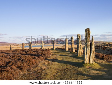 Ring Of Brodgar, Orkney. World Heritage Site. - stock photo