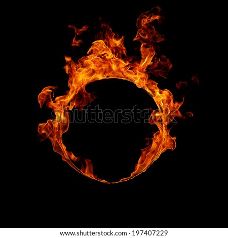 Ring of fire in black background