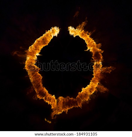 Ring of fire on black background - stock photo