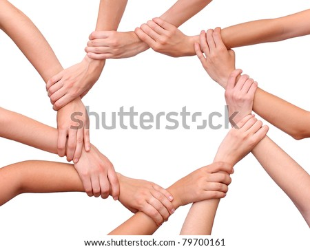 Ring of hands teamwork isolated - stock photo