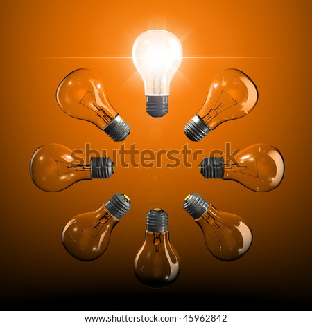 Ring of light bulbs with one lit up