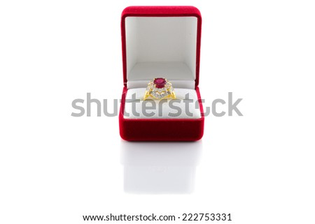 Ring of the jewelry with colourful sapphire on the white background. - stock photo