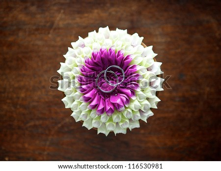 Ring on flower crafts wedding - stock photo