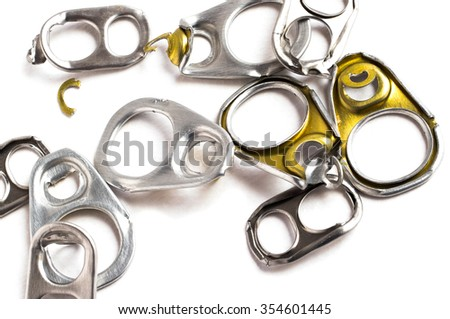 Ring pull aluminum of cans isolated , use make artificial legs on white background - stock photo