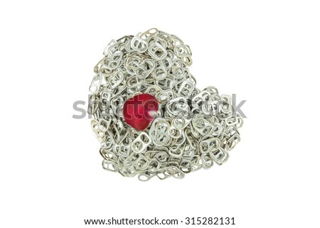 Ring pull aluminum of cans stack as heart shape indicate of new hope isolate on white background - stock photo