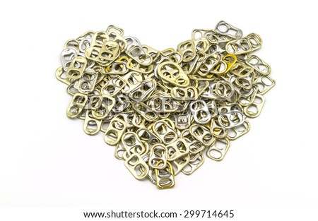 Ring pull aluminum of cans stack as heart shape indicate of new hope on white background - stock photo
