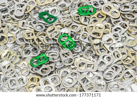 Ring pull background, Lid Cans, Background of many ring pull cans opener, silver, bronze and green. - stock photo