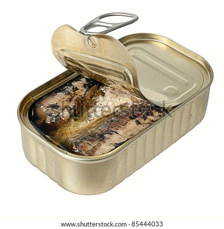 Ring-pull can of sardines in oil isolated over white - stock photo