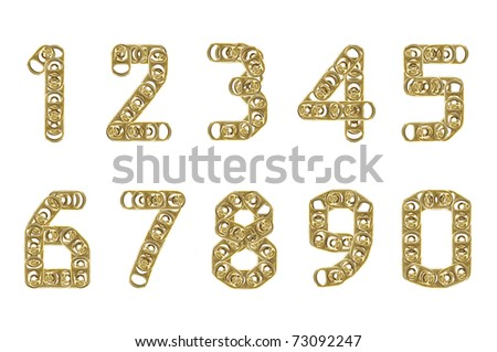 ring pull of cans numbers 1 2 3 4 5 6 7 8 9 0 isolated on white background - stock photo