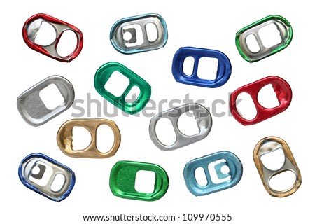 Ring-pulls isolated on a white background. - stock photo