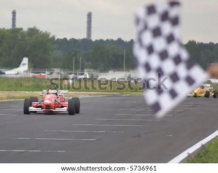 Ring race #45. Finish - stock photo