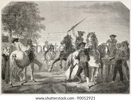 Ring race in New Zealand old illustration. Created by Dillens, published on L'Illustration, Journal Universel, Paris, 1858 - stock photo
