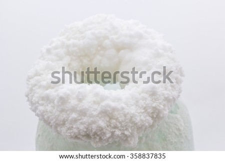 Ring salt crystals are formed on the pot by evaporation saline. - stock photo