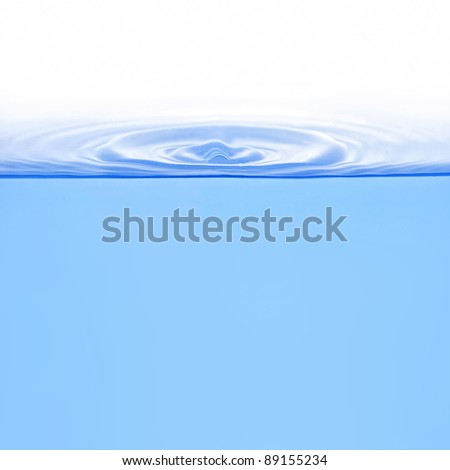 Ring shape waves on water from drop isolated on white - stock photo