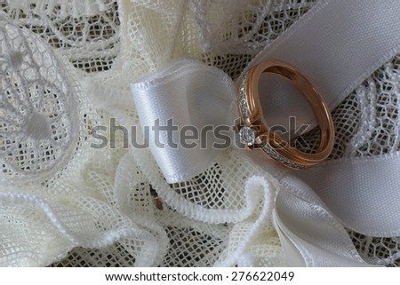 ring wedding ceremony lace bow - stock photo