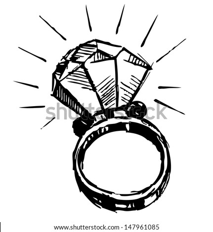 Ring with a big sparkling diamond isolated on white. Sketch illustration - stock photo
