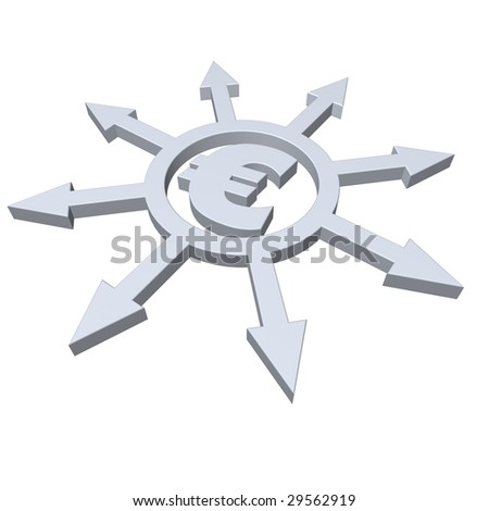 ring with arrows in all directions and euro symbol - 3d illustration - stock photo