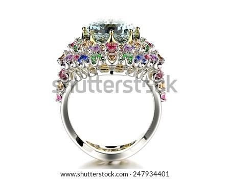 Ring with Diamond. Fashion Jewelry background. Valentine and wedding day. Aquamarine - stock photo