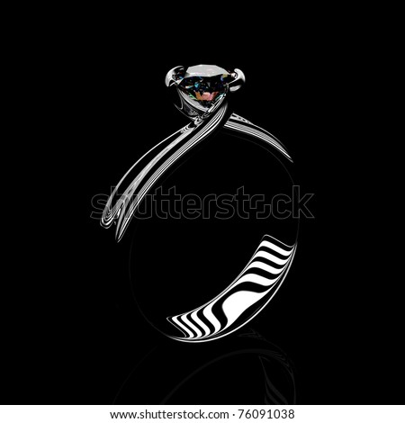 Ring with diamond isolated on black background - stock photo