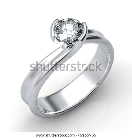 Ring with diamond isolated on white background - stock photo