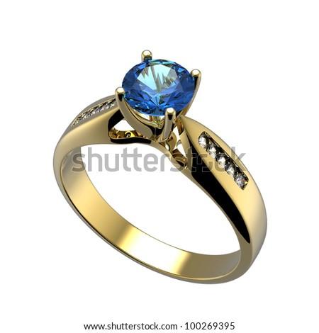 Ring with diamond isolated on white background. Swiss blue topaz. aquamarine - stock photo