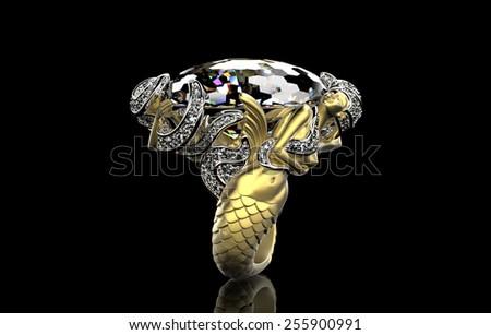 Ring with Diamond. Jewelry background - stock photo
