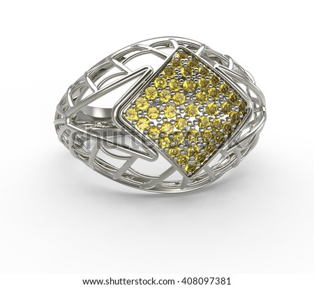 Ring with diamond on a white background. 3d digitally rendered illustration