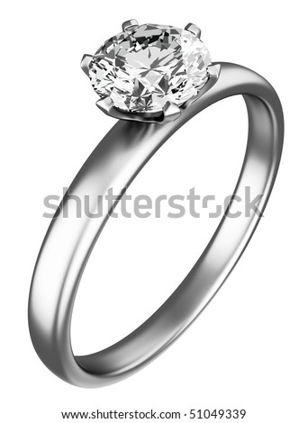 Ring with diamond on the white background - stock photo