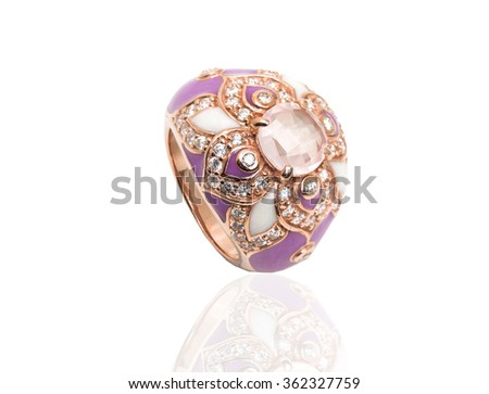Ring with gems and enamel isolated on white