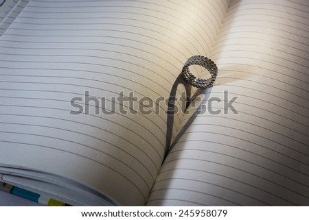 Ring with Heart Shaped Shadow on a book - stock photo