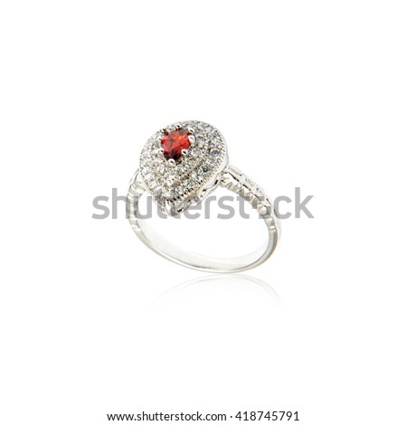 Ring with Jewel isolated on white. - stock photo